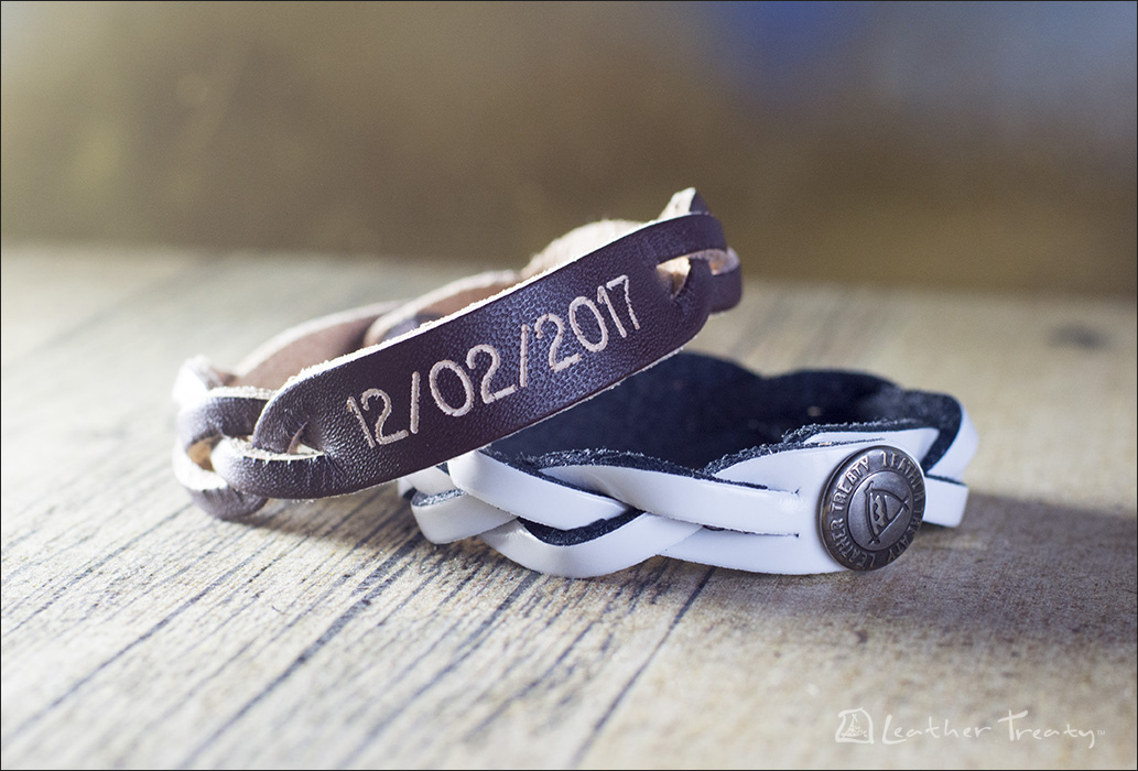 Engraved Leather Anniversary Date Bracelets