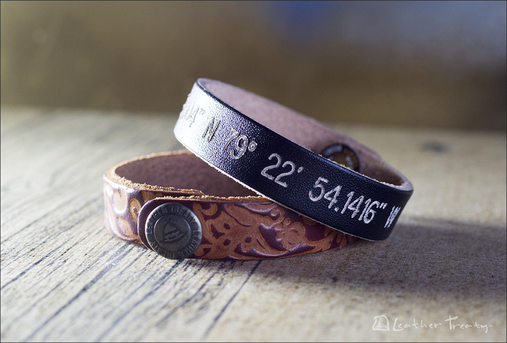 Engraved Leather Coordinate Bracelets
