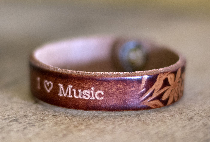 Engraving on Brown Embossed Leather Bracelet