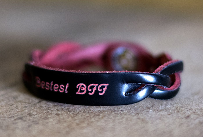 Personalization on Black Red Braided Leather Bracelet