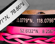 Engraved Leather Coordinates Bracelets