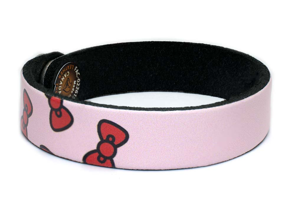Hello Kitty Bows Custom Leather Wristband Bracelet