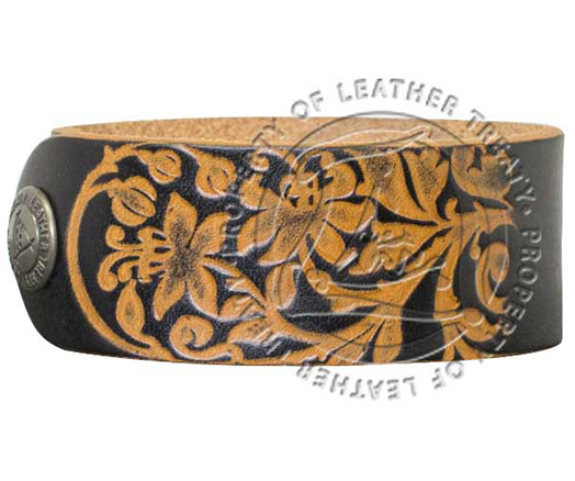 Personalized Black Garden Embossed Cuff Bracelet