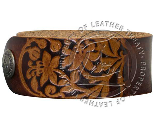 personalized-brown-garden-embossed-cuff-bracelet