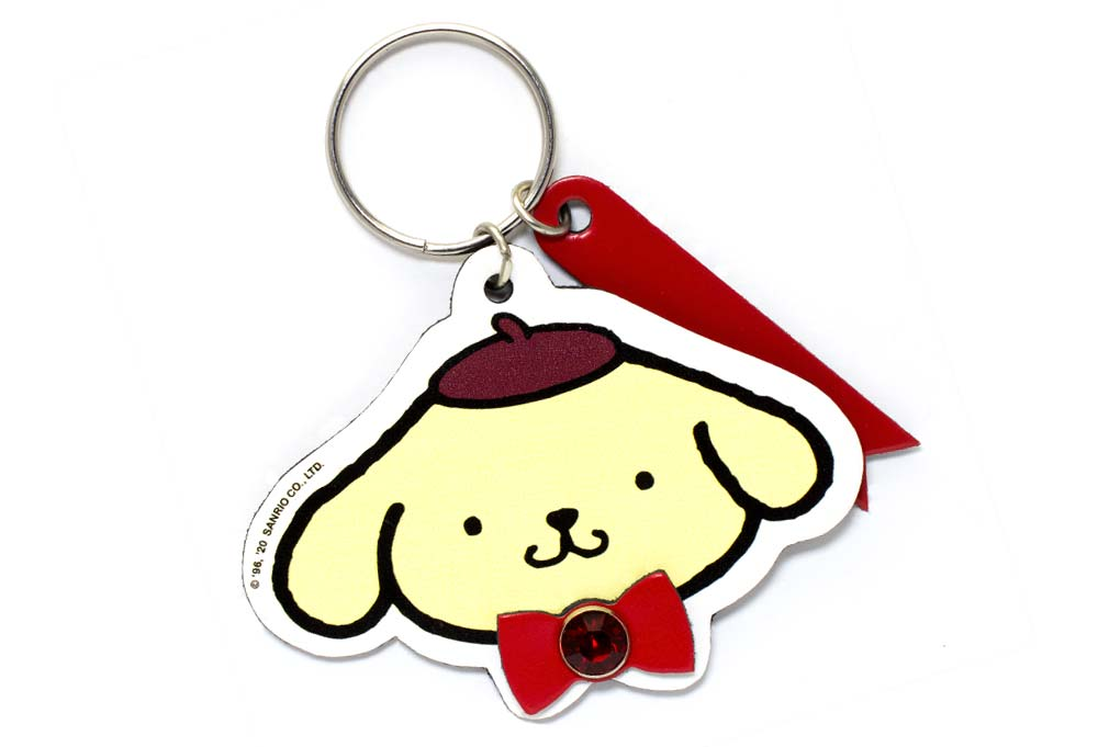 pompom-purin-face-keychain-with-engravable-tag